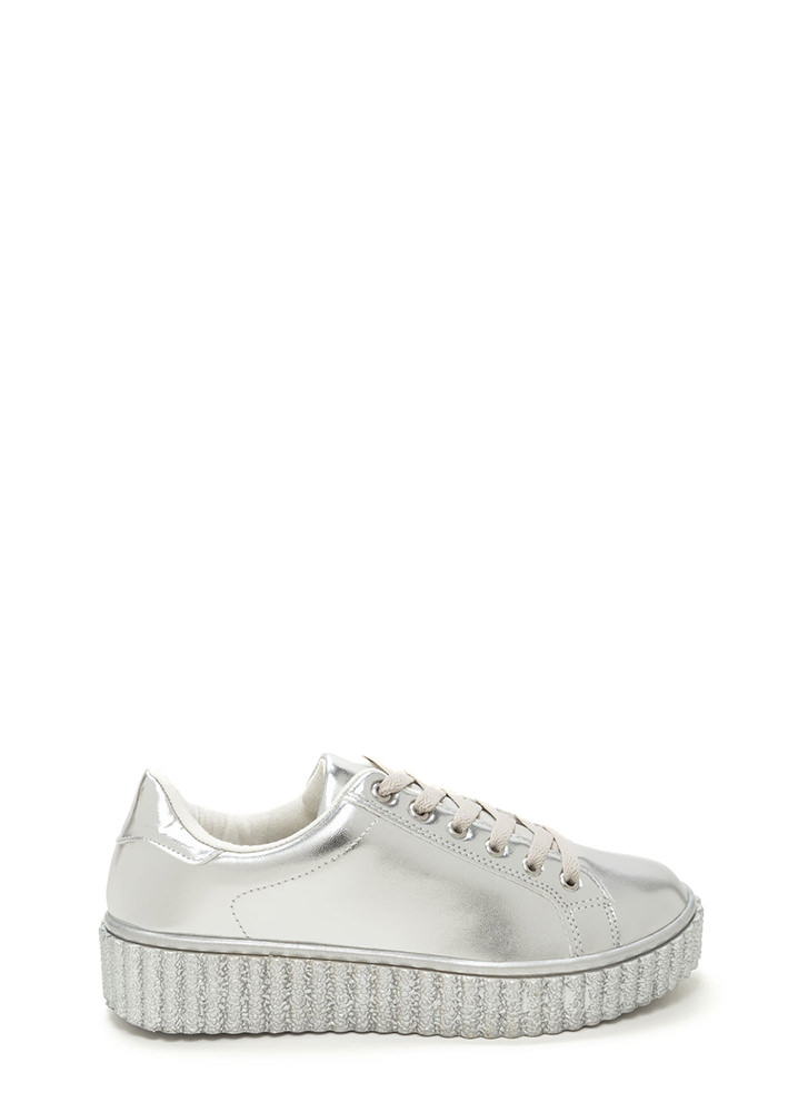 You Creeper Metallic Platform Sneakers SILVER