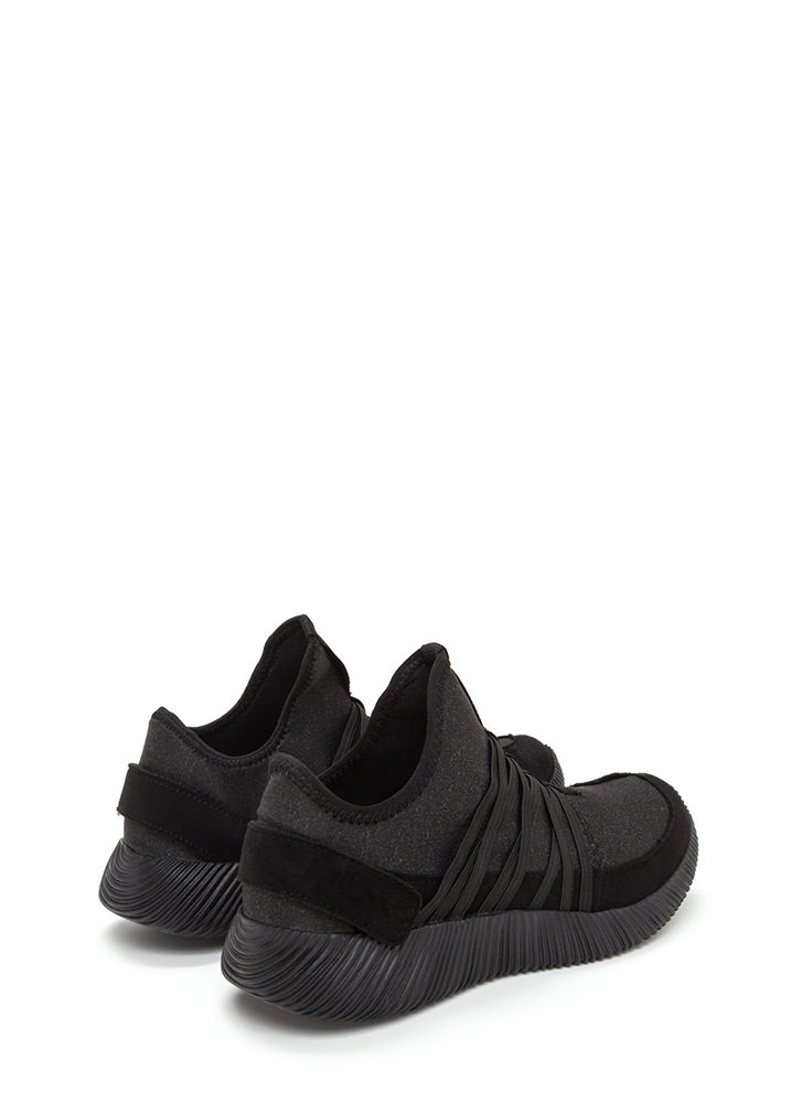 All Strapped In Laced Slip-On Sneakers BLACK