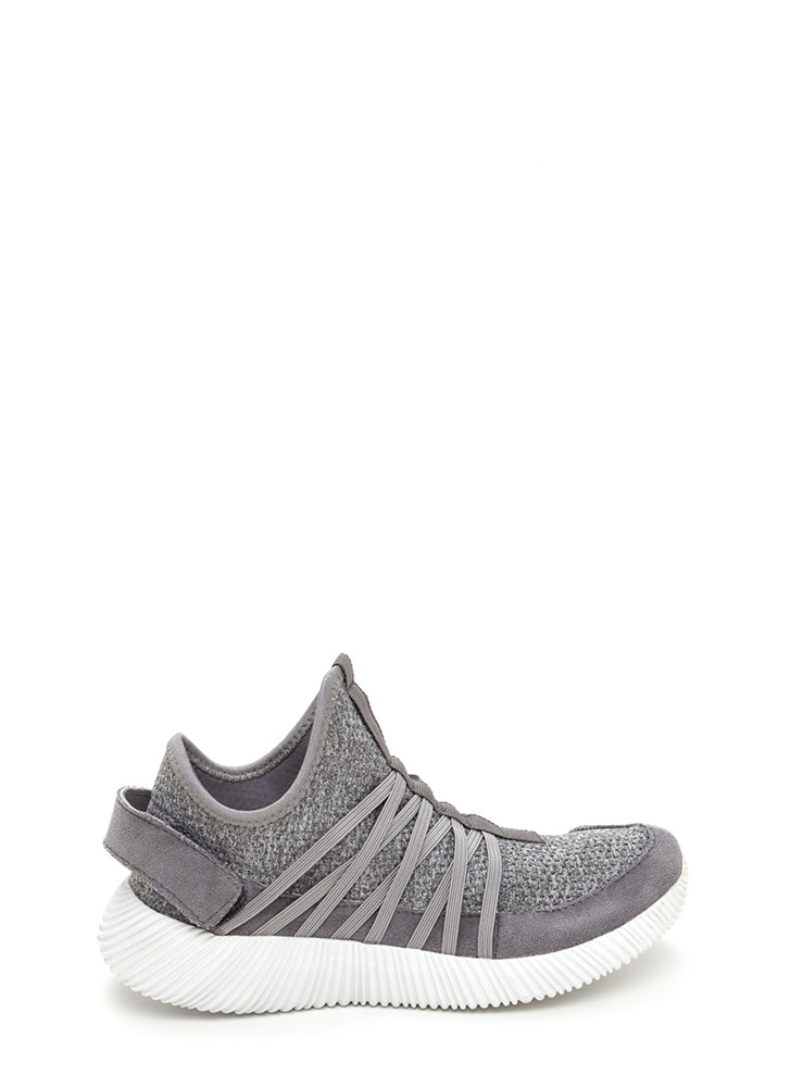 All Strapped In Laced Slip-On Sneakers GREY