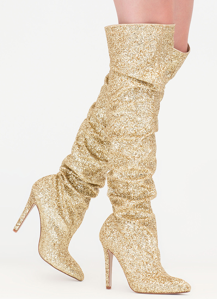 So Much Sparkle Glitter Thigh-High Boots GOLD