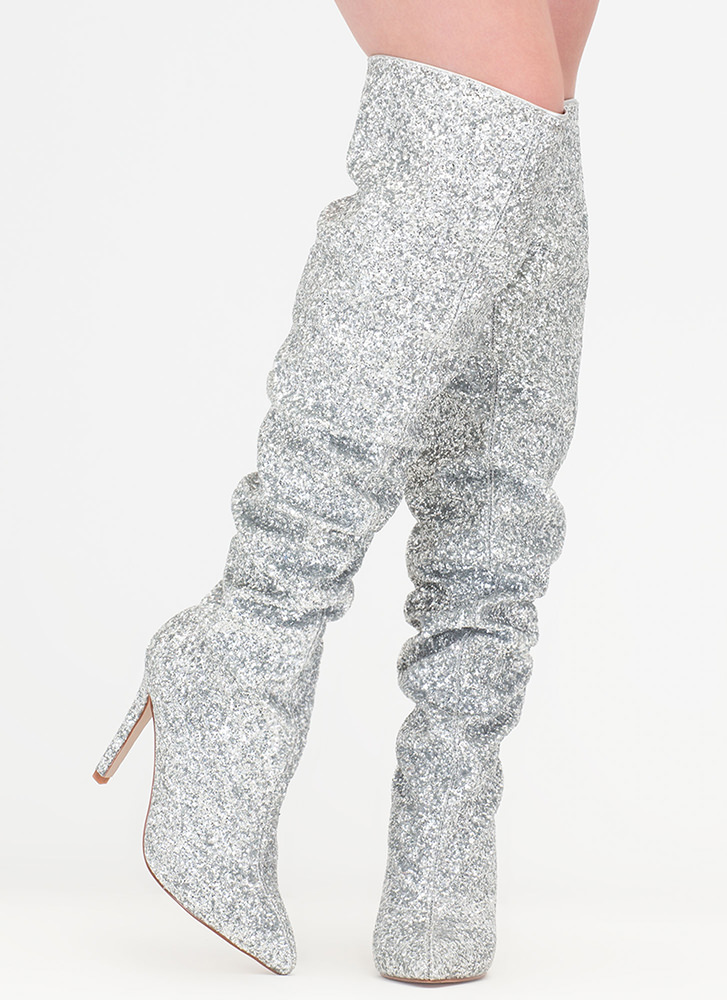 So Much Sparkle Glitter Thigh-High Boots SILVER