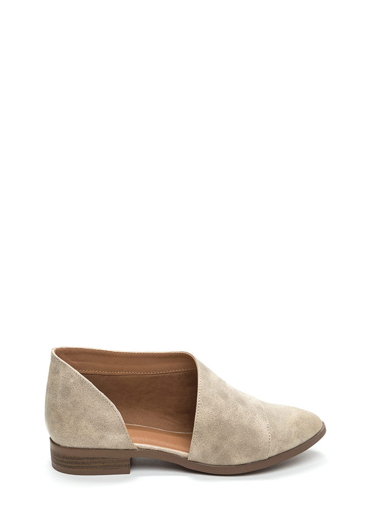 Simply Sensational Pointy Cut-Out Flats STONE