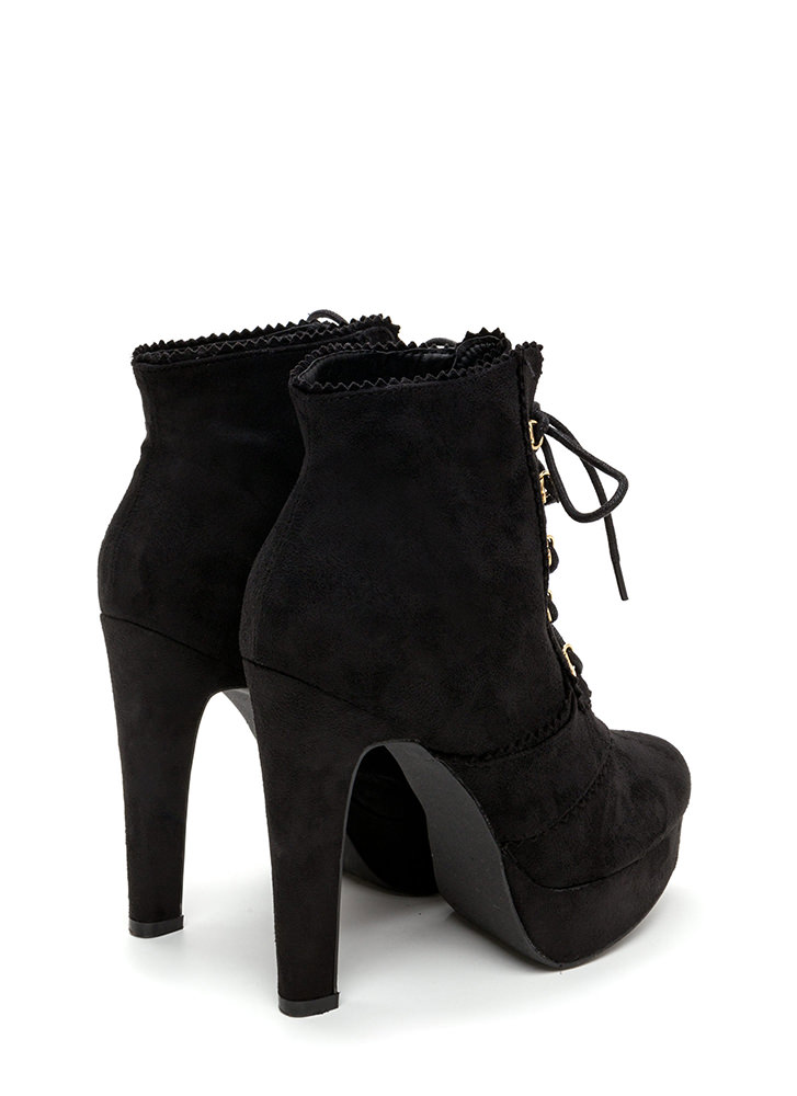 Think Pinked Platform Lace-Up Booties BLACK