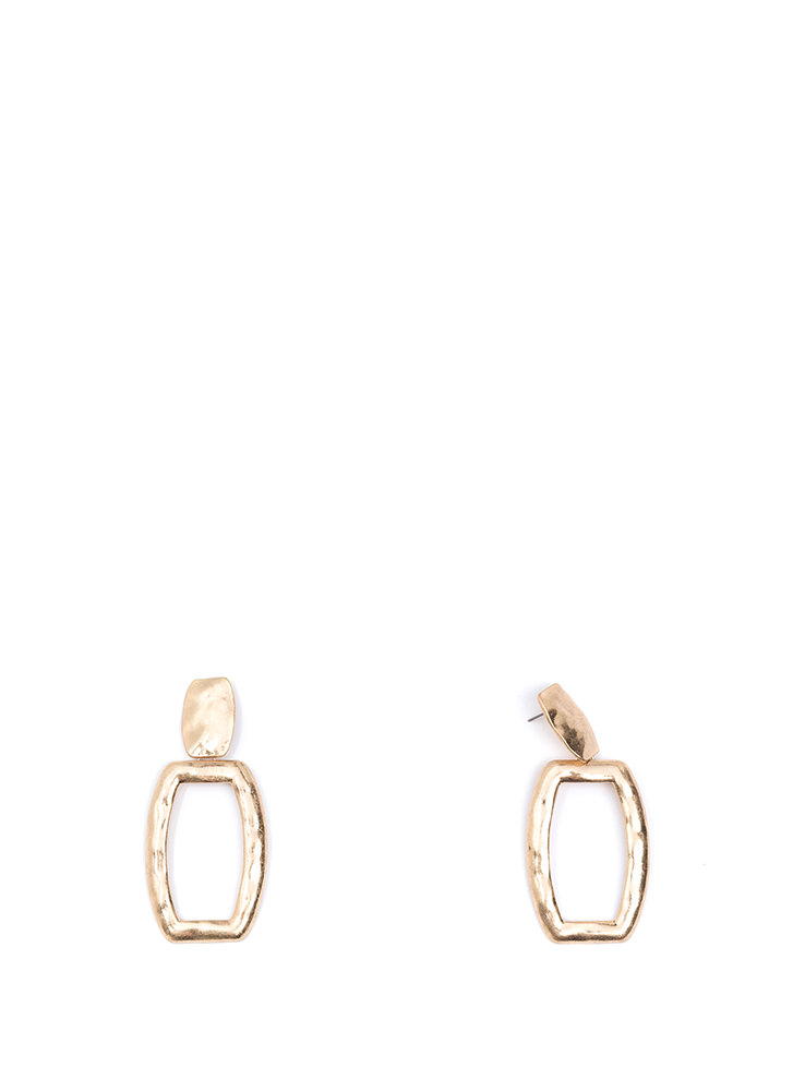 Hammered Time Cut-Out Rectangle Earrings GOLD