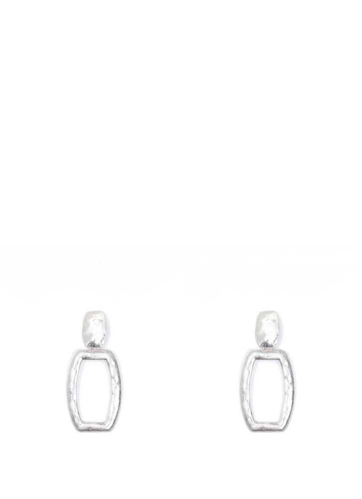 Hammered Time Cut-Out Rectangle Earrings SILVER