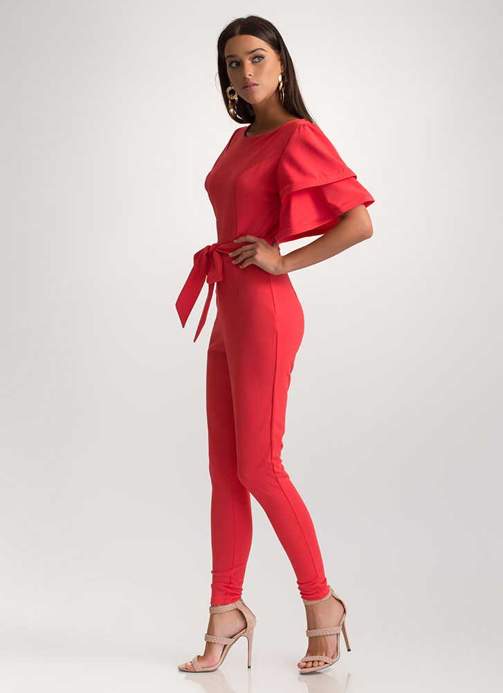 Ruffled Icon Tied Jumpsuit CORAL