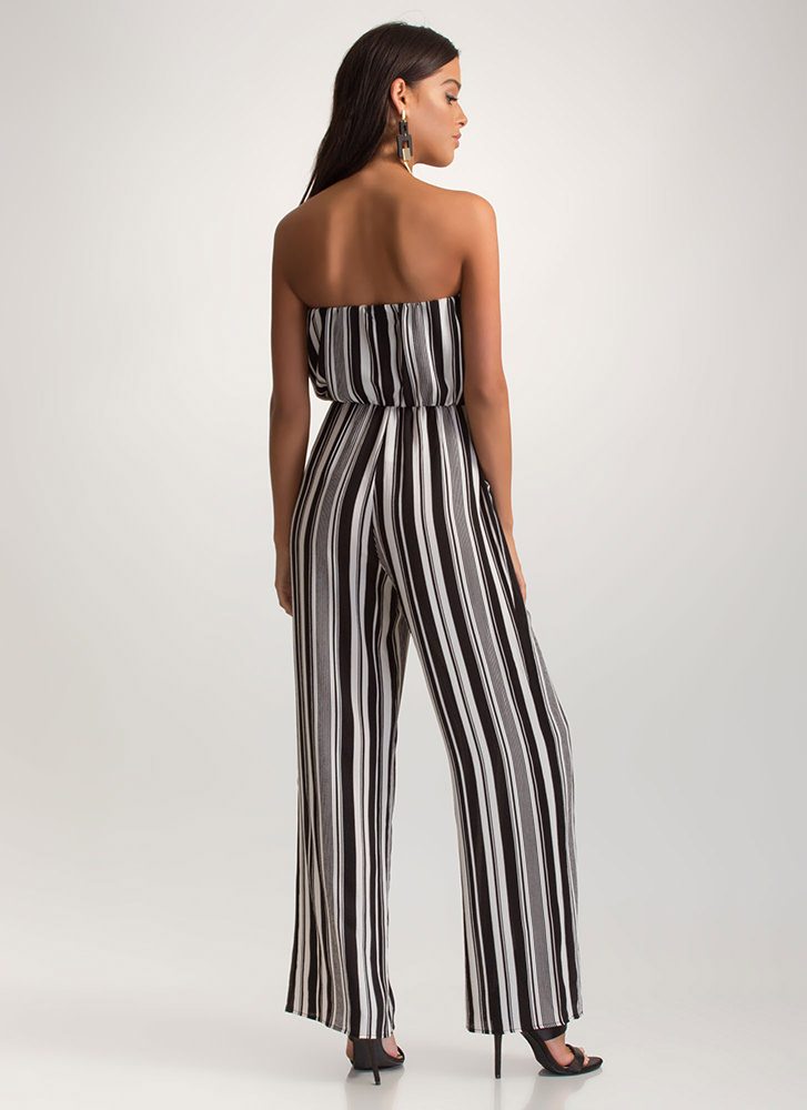 So Smitten Striped Palazzo Jumpsuit BLACK