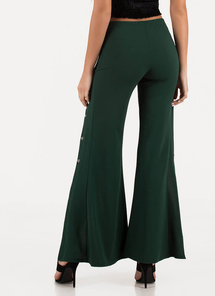 Sporty Chic Tearaway Flared Pants HGREEN
