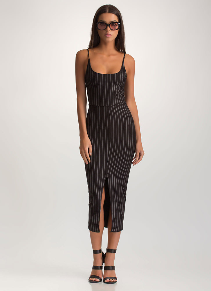 Pinstripe Up Slit Midi Dress BLACK