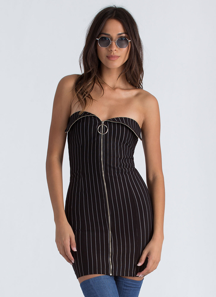 VIP Line Zippered Pinstriped Mini Dress BLACK
