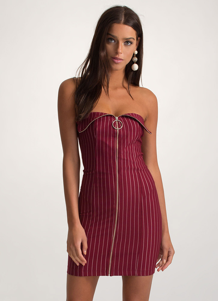 VIP Line Zippered Pinstriped Mini Dress BURGUNDY