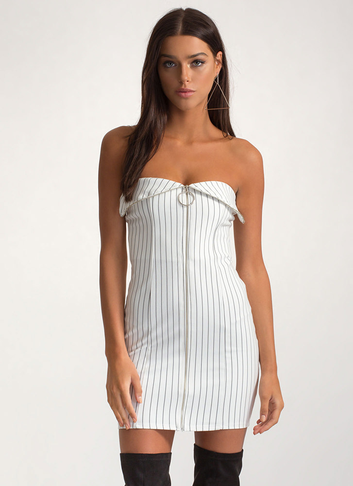 VIP Line Zippered Pinstriped Mini Dress WHITE