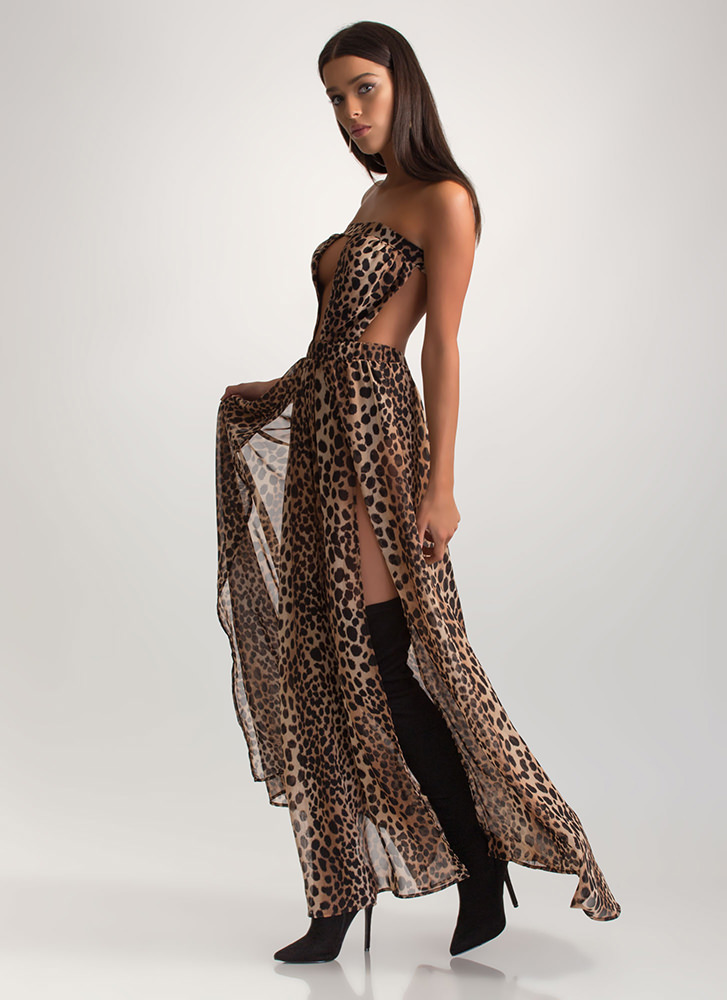 On The Prowl Cut-Out Leopard Maxi Dress BROWN