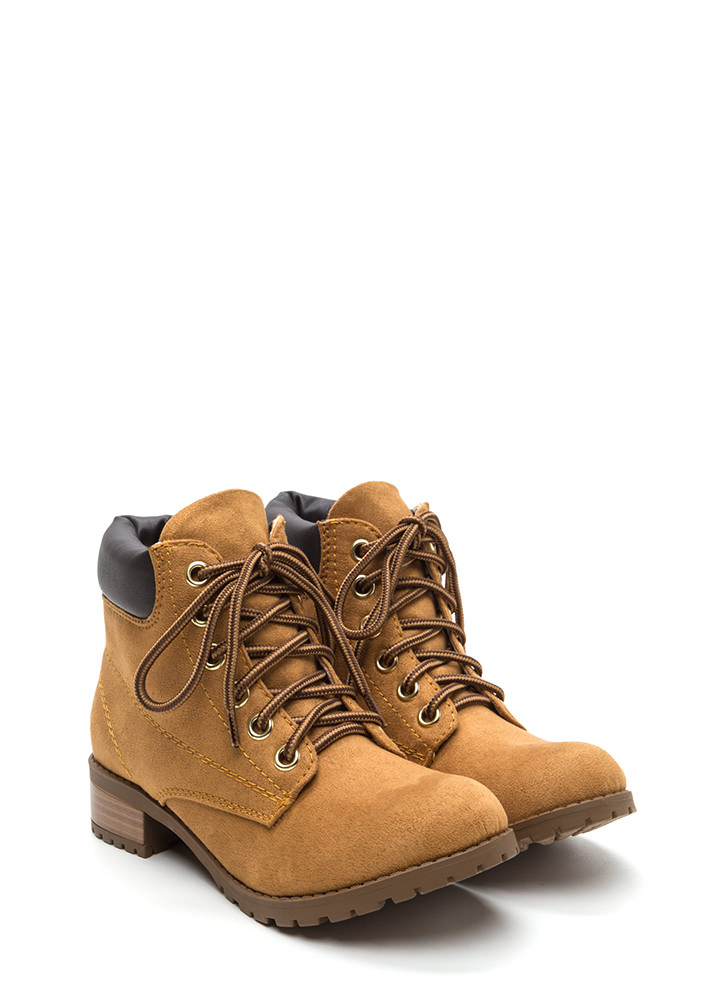 Putting In Work Lace-Up Lug Boots BLOND
