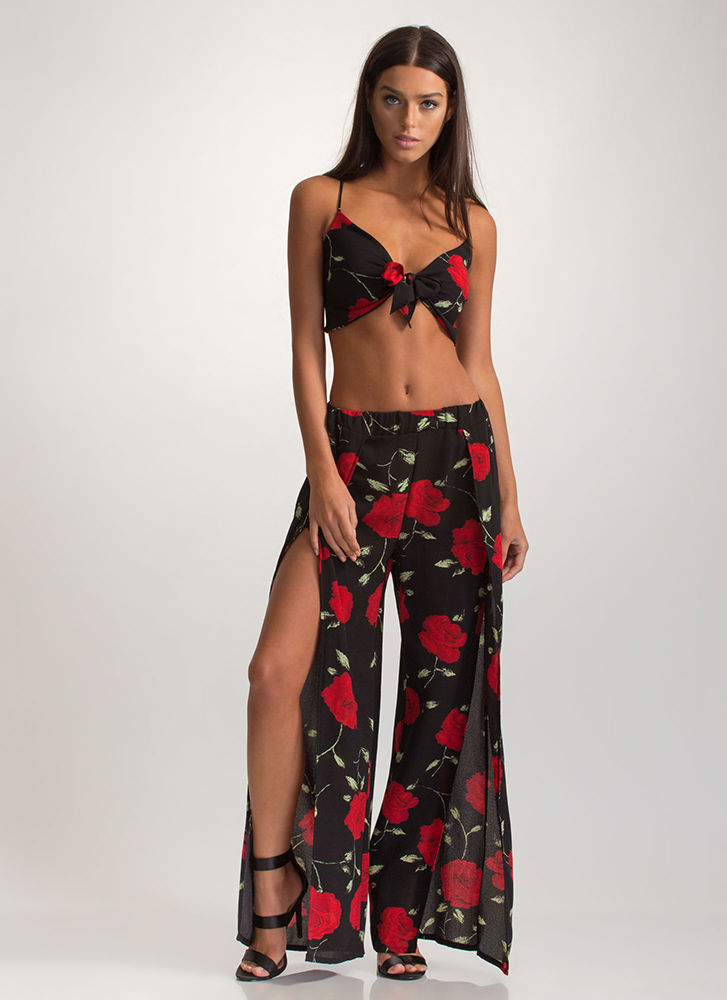 Rose Remedy Two-Piece Palazzo Jumpsuit BLACK (Final Sale)