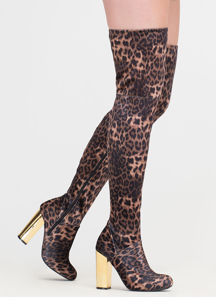 Wild Jungle Leopard Thigh-High Boots LEOPARD