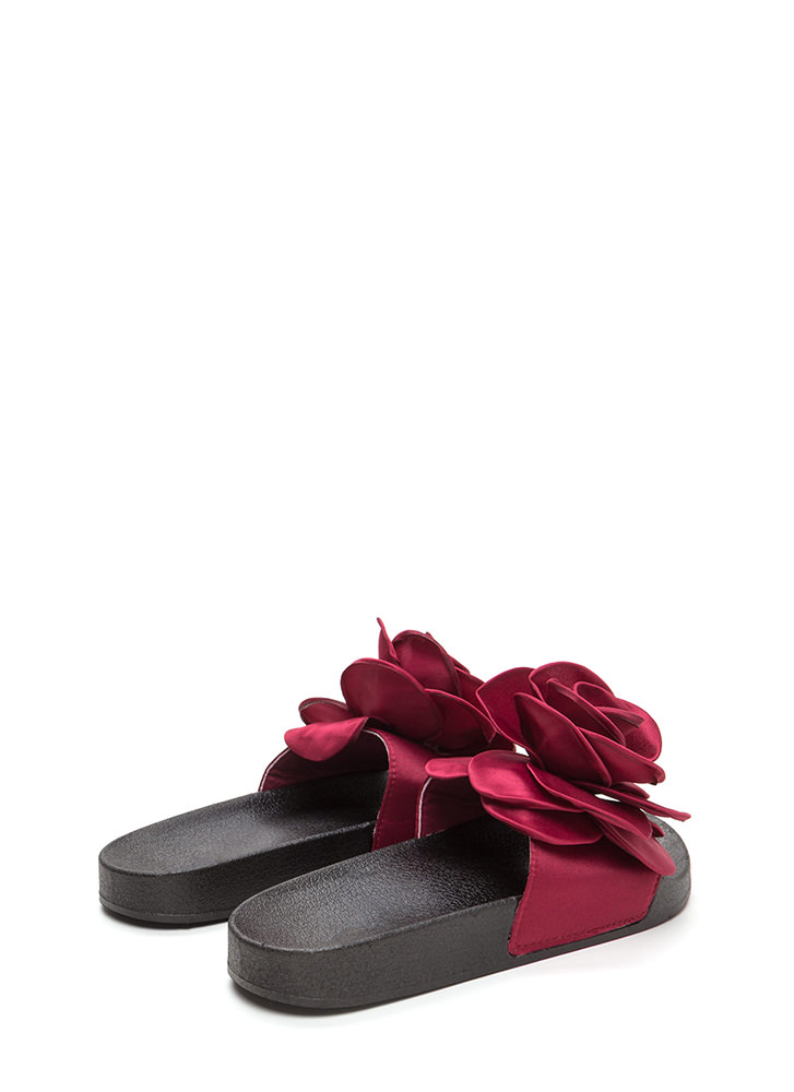 Petal Winner Flower Slide Sandals BURGUNDY