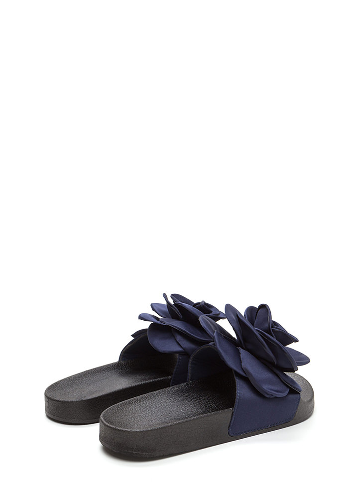 Petal Winner Flower Slide Sandals NAVY