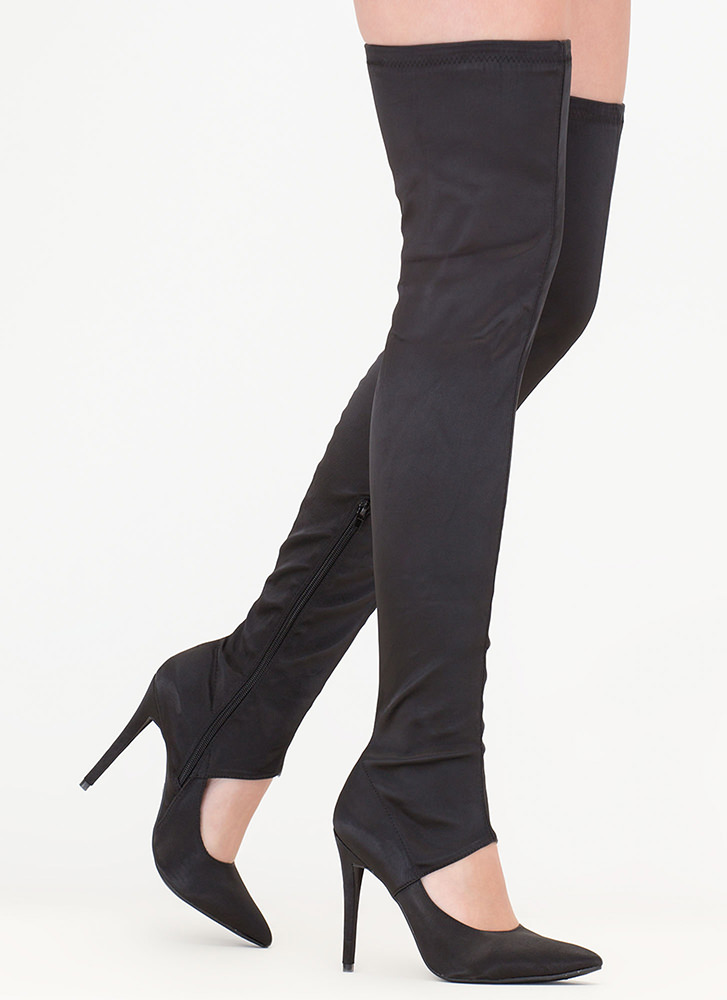Cutting Edge Satin Thigh-High Boots BLACK