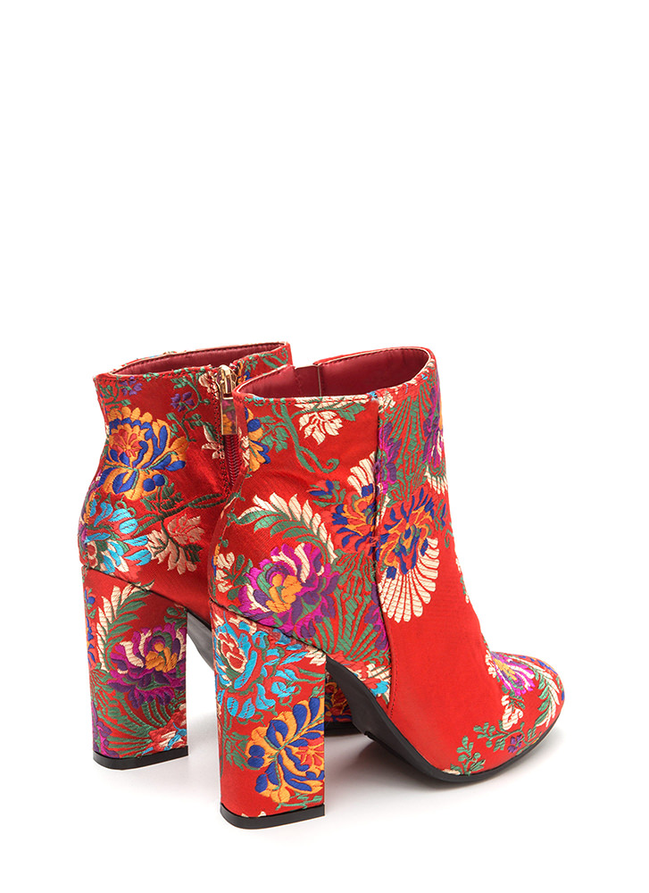 Blocked Off Chunky Floral Satin Booties RED