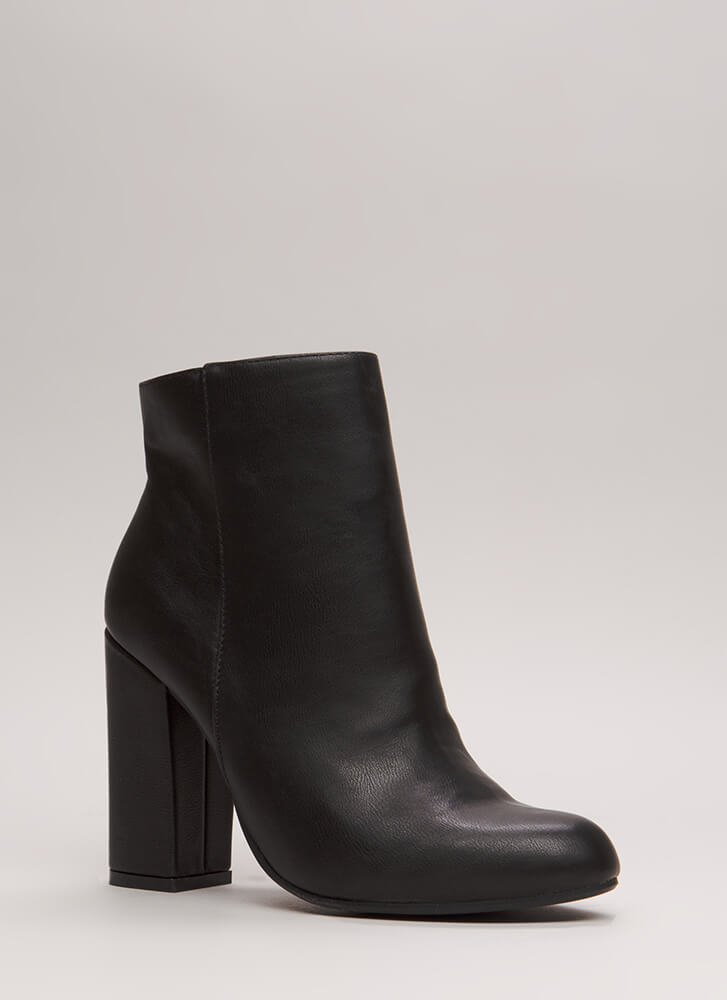 Blocked Off Chunky Faux Leather Booties BLACK