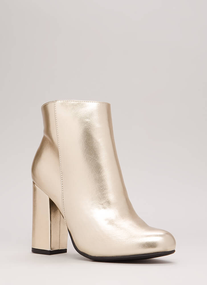 Blocked Off Chunky Faux Leather Booties GOLD
