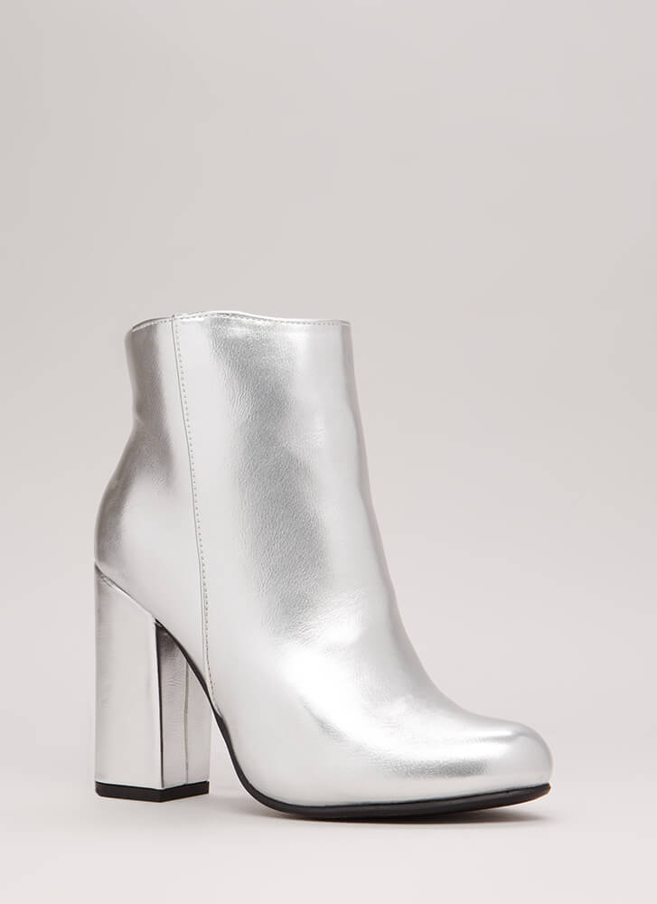 Blocked Off Chunky Faux Leather Booties SILVER