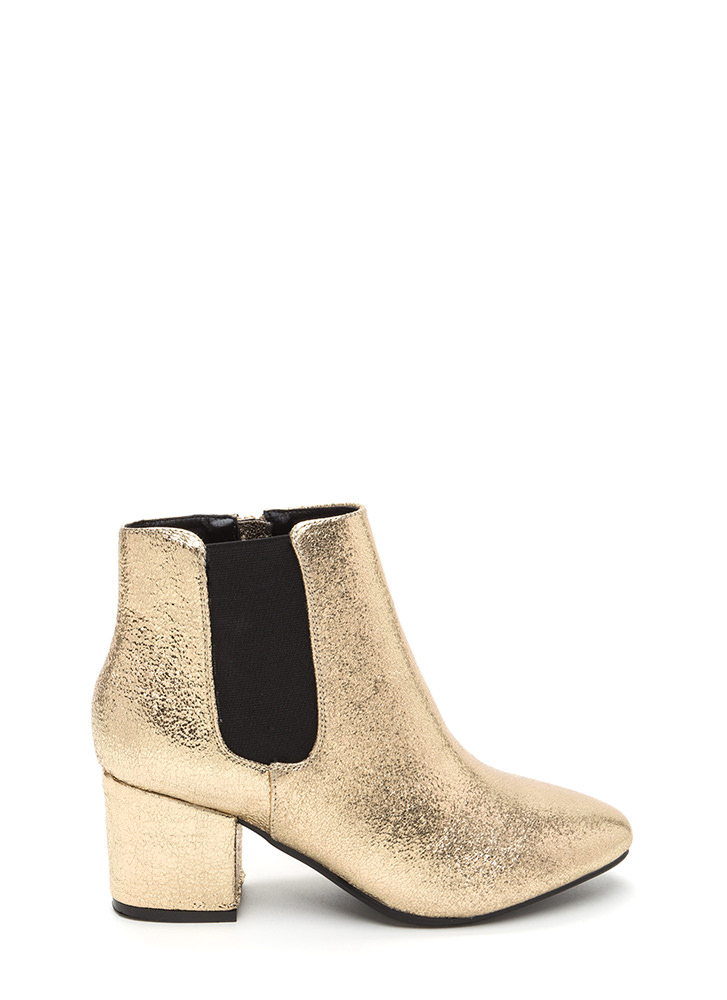 Chelsea Chic Chunky Metallic Booties GOLD