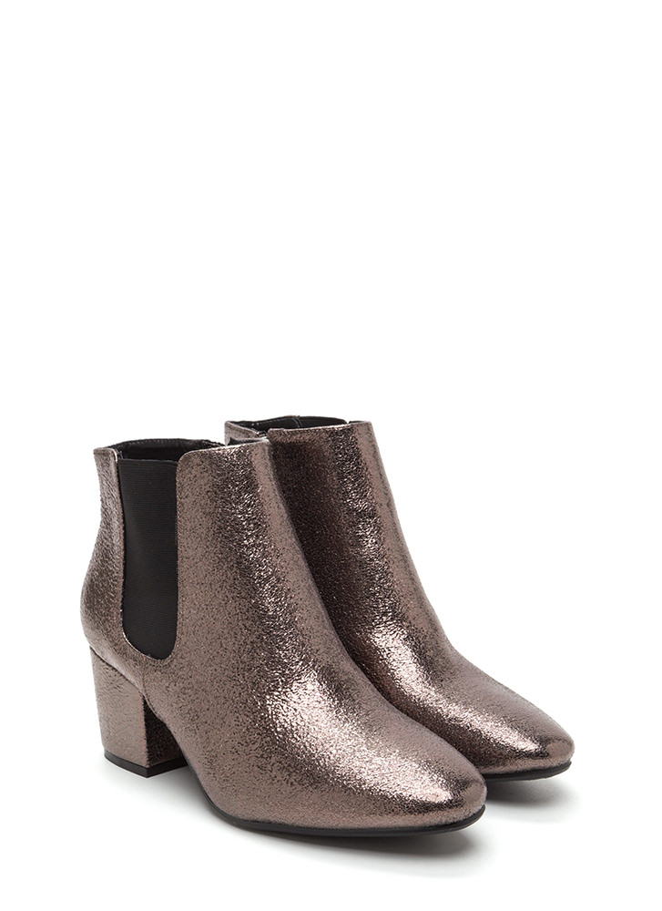 Chelsea Chic Chunky Metallic Booties PEWTER