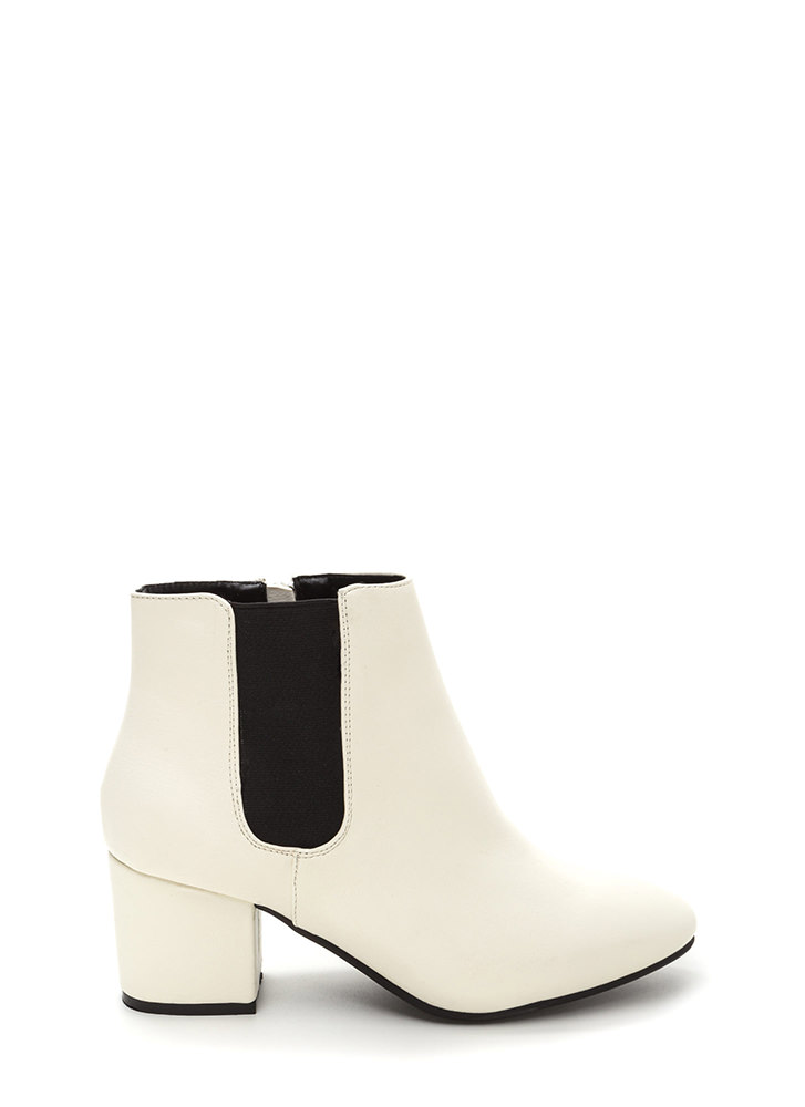 Chelsea Chic Chunky Faux Leather Booties WHITE