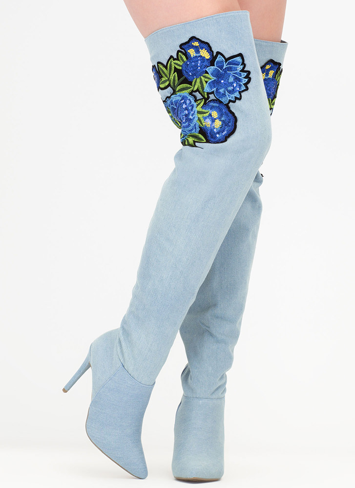 Pretty Petals Denim Thigh-High Boots BLUE