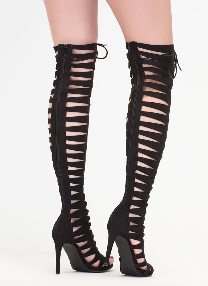 Style Icon Lace-Up Thigh-High Heels BLACK