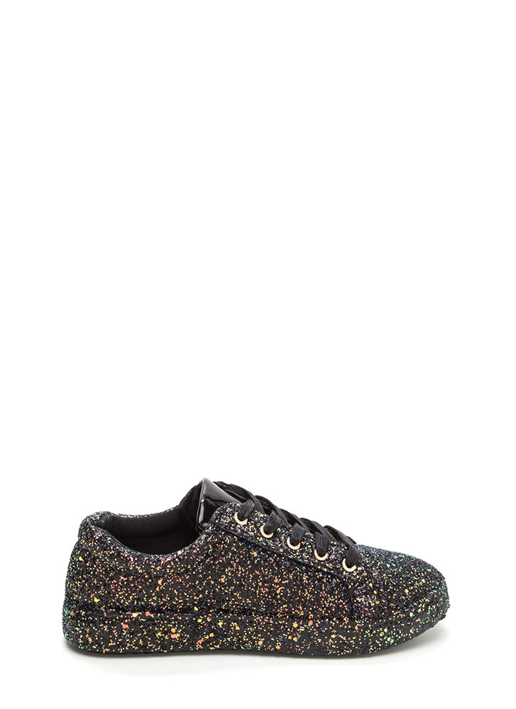 Sparkler Status Glitter Lace-Up Sneakers BLACK