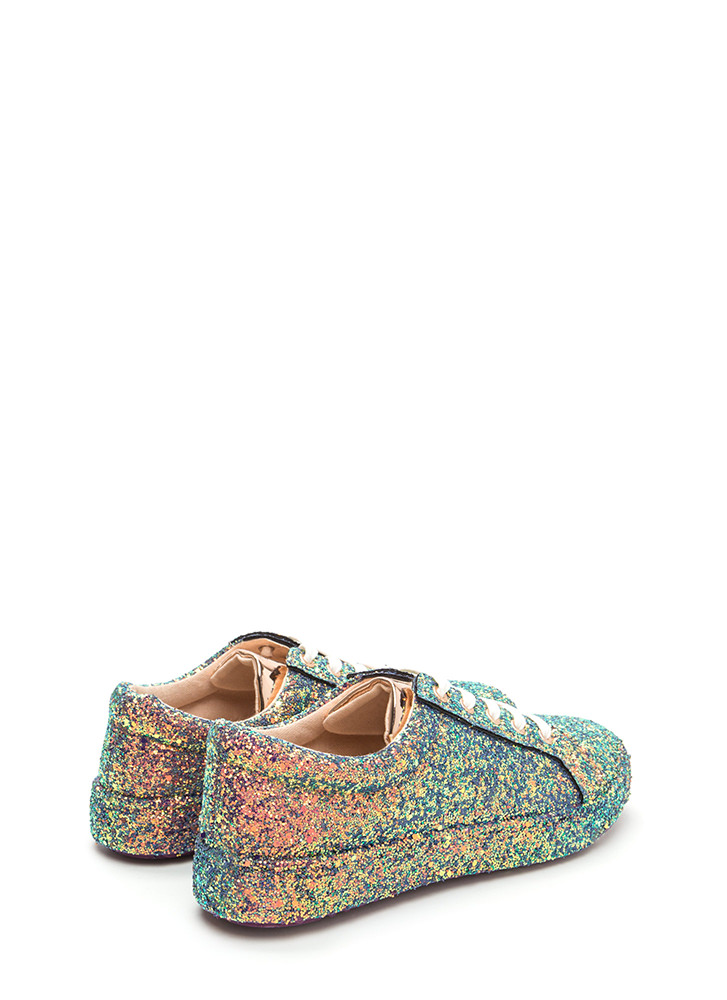 Sparkler Status Glitter Lace-Up Sneakers BLUE