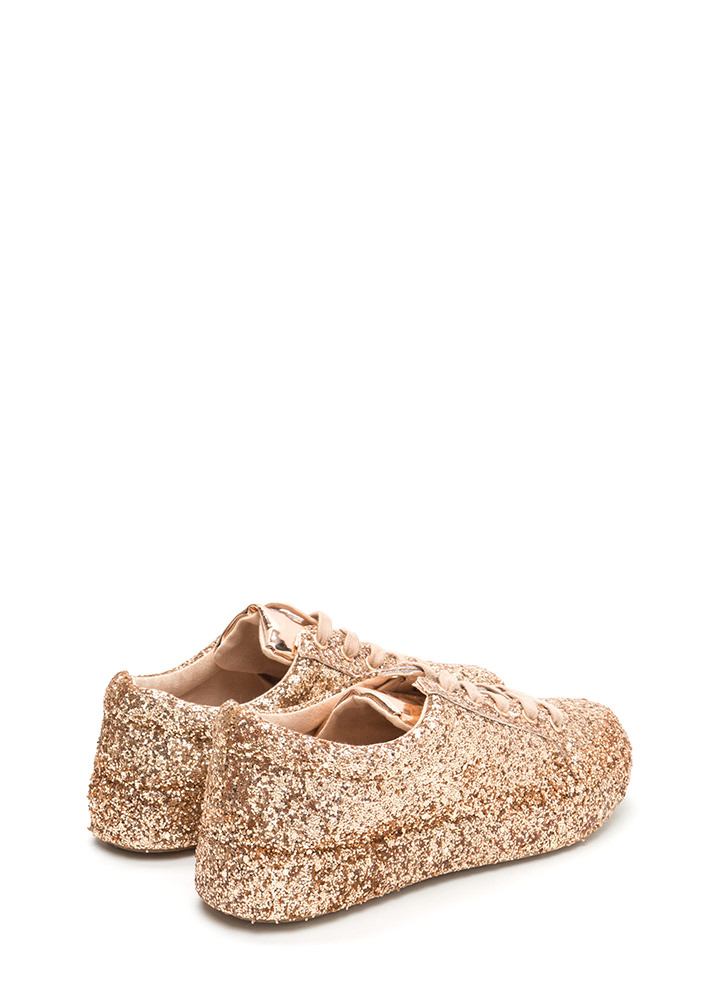 Sparkler Status Glitter Lace-Up Sneakers ROSEGOLD