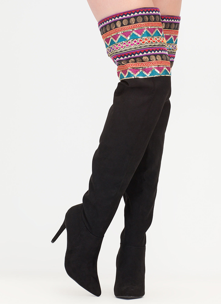 Boho Nomad Pointy Thigh-High Boots BLACK