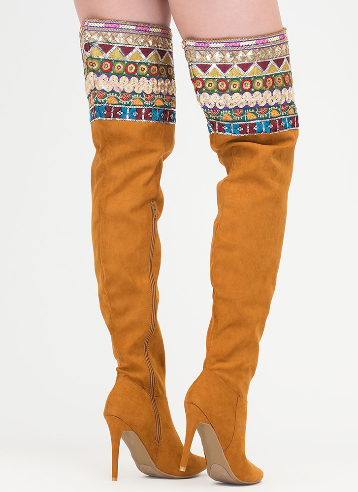 Boho Nomad Pointy Thigh-High Boots COGNAC