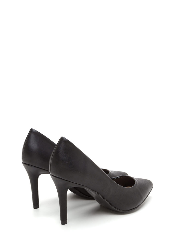 Get Pumped Pointy Faux Leather Heels BLACK