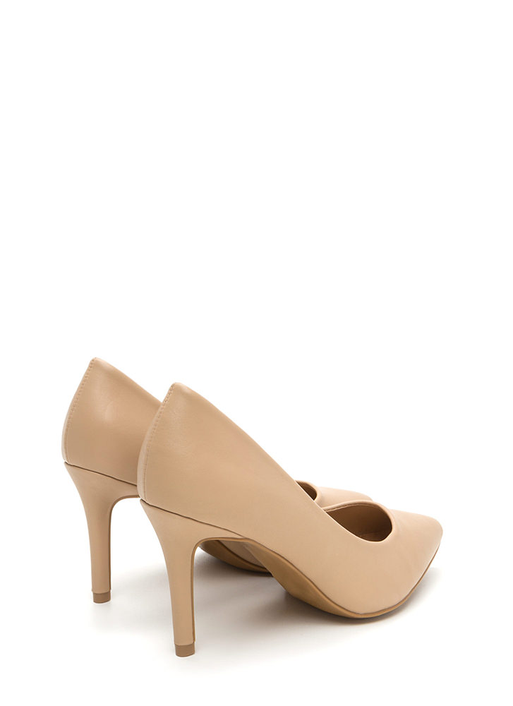 Get Pumped Pointy Faux Leather Heels NUDE