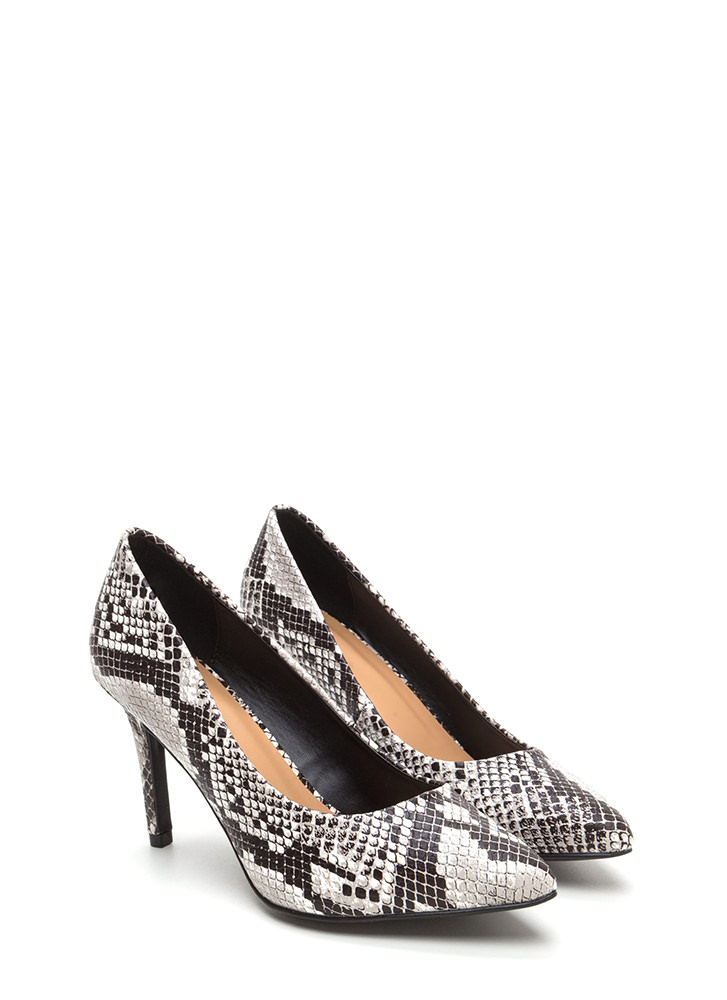 Get Pumped Pointy Faux Snake Heels BLACK