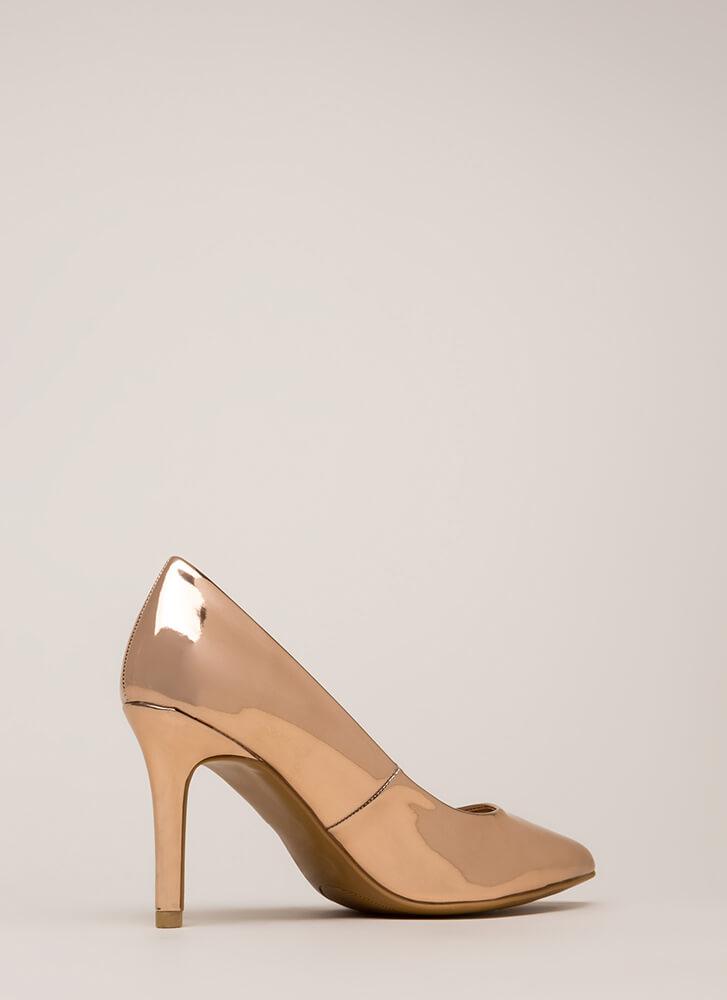Get Pumped Pointy Faux Patent Heels ROSEGOLD (Final Sale)