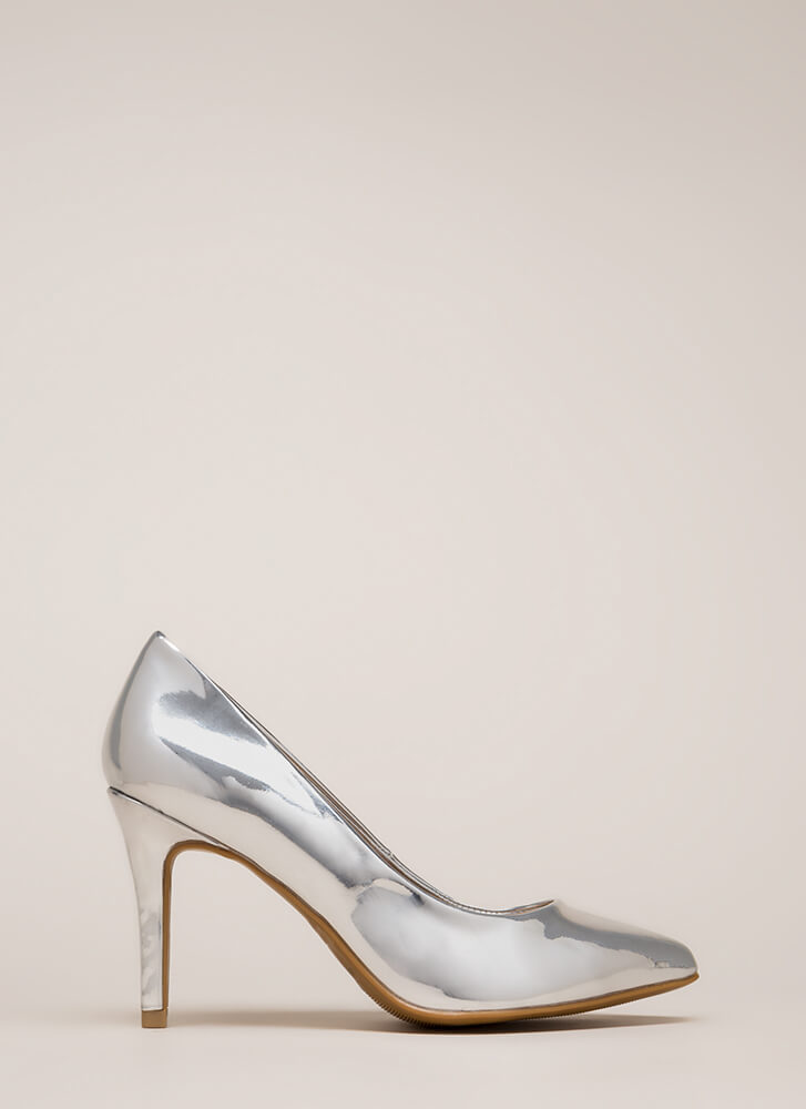 Get Pumped Pointy Faux Patent Heels SILVER
