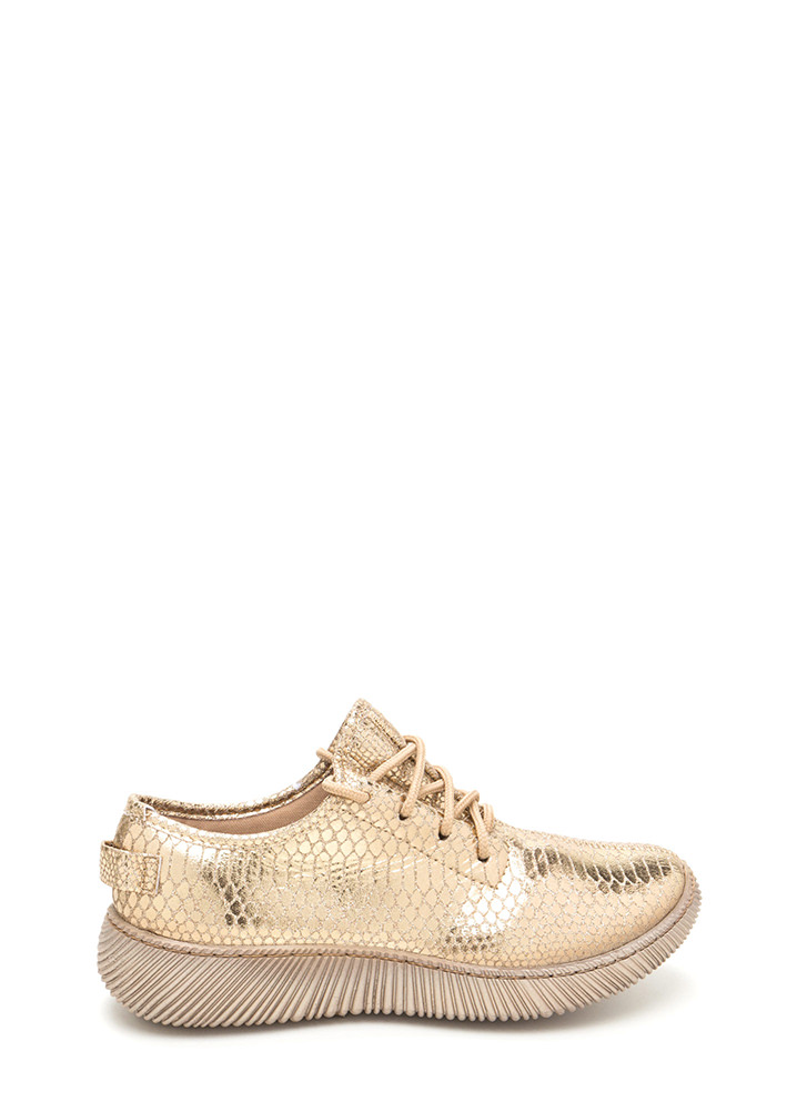 Casual Luxury Shiny Snakeskin Sneakers GOLD