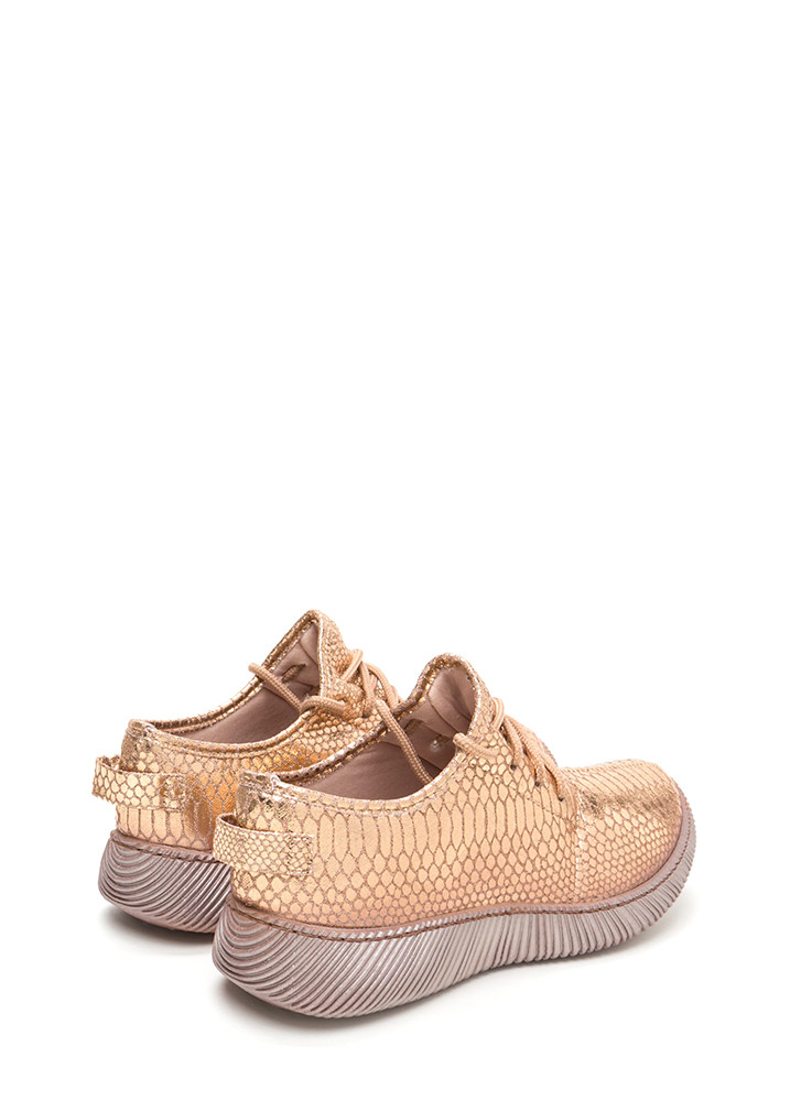 Casual Luxury Shiny Snakeskin Sneakers ROSEGOLD