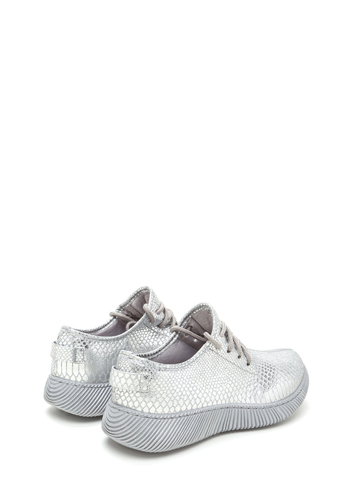 Casual Luxury Shiny Snakeskin Sneakers SILVER