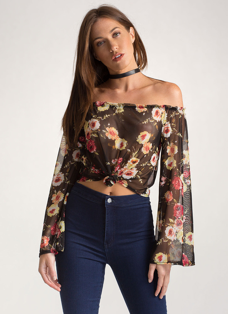 Garden Goddess Sheer Off-Shoulder Top BLACK