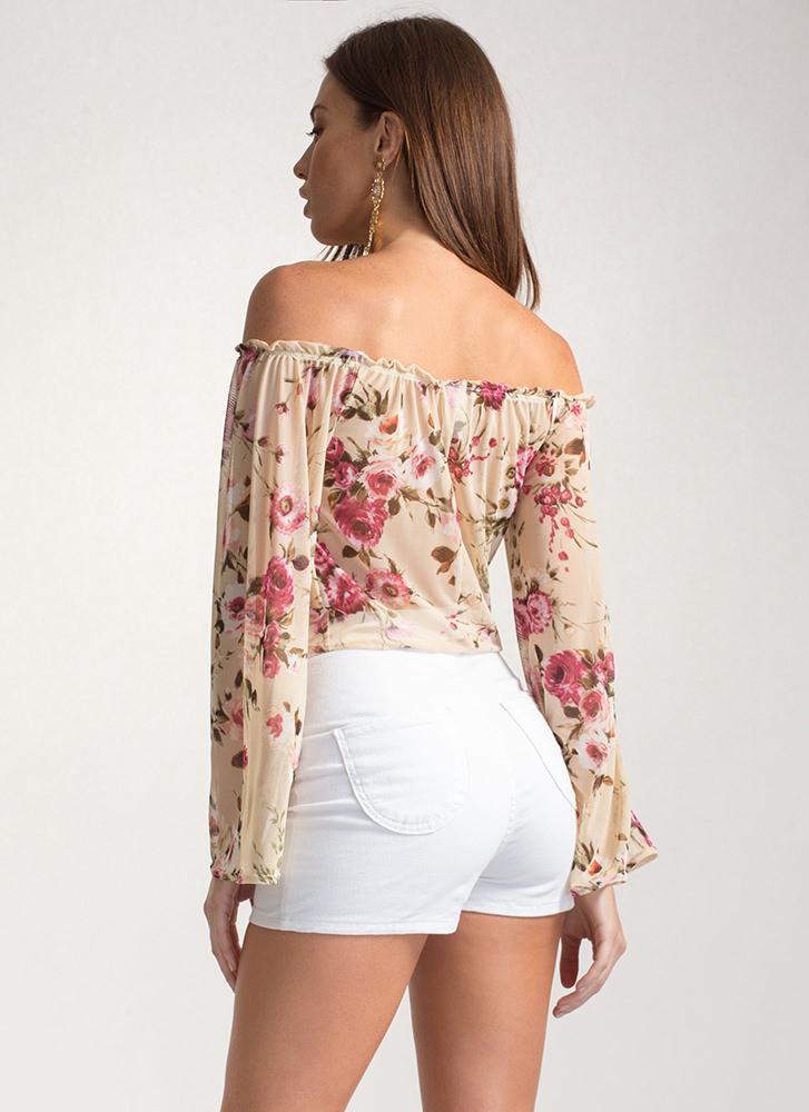 Garden Goddess Sheer Off-Shoulder Top TAUPE