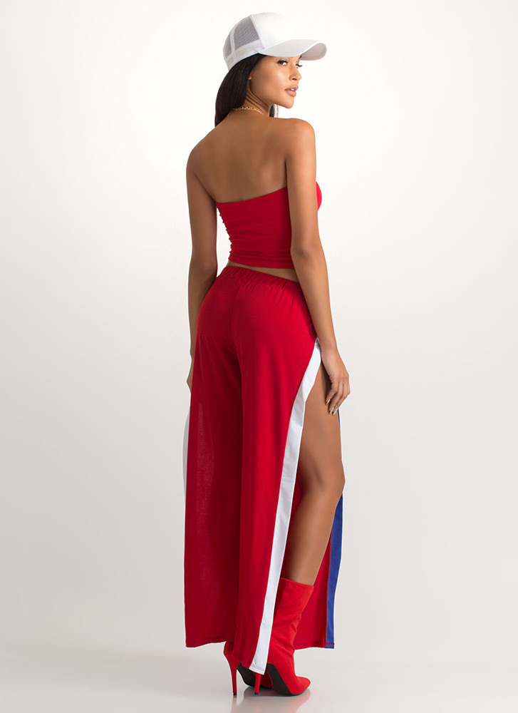 Legs For Miles Slit Palazzo Pants RED