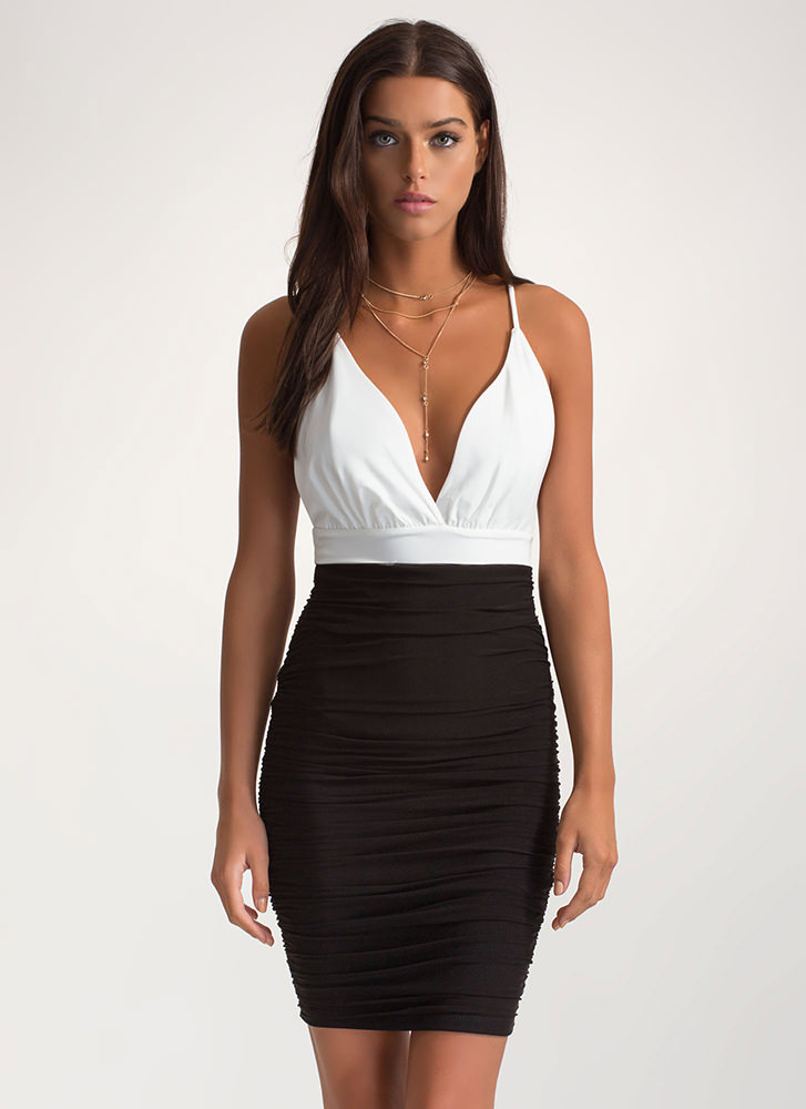 Hot Nights Out Plunging Ruched Dress BLACK
