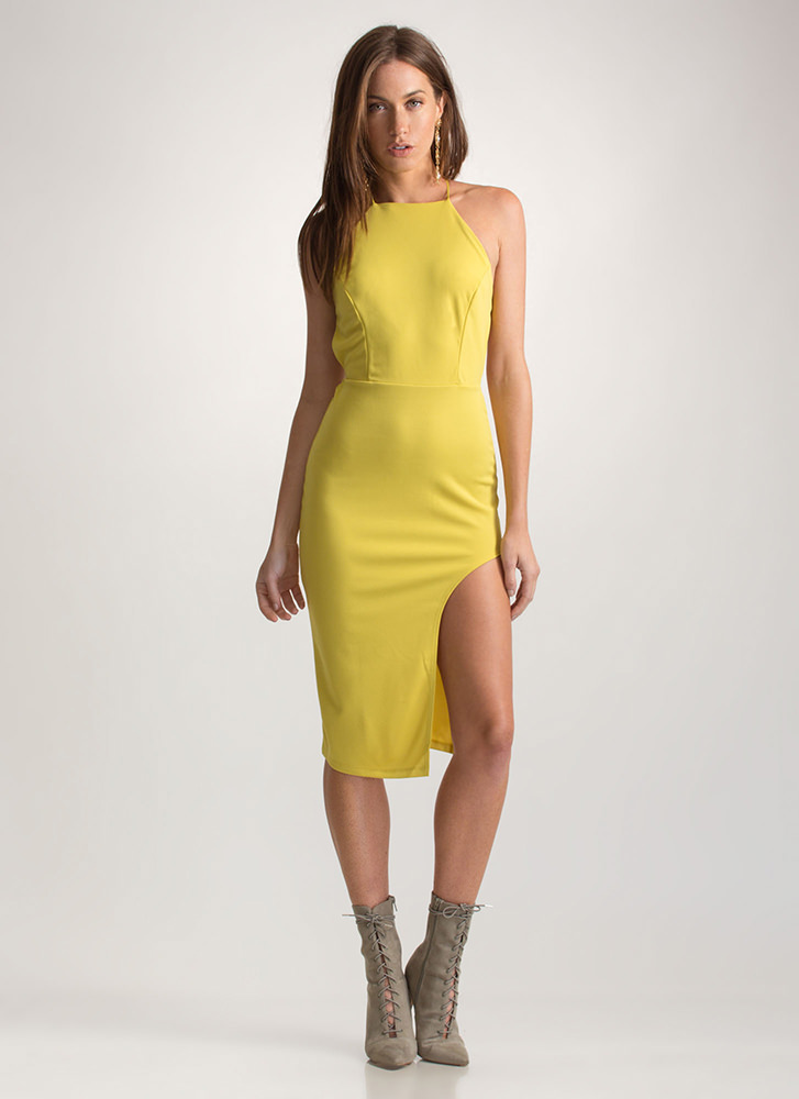 VIP Status Lace-Up Slit Midi Dress YELLOW
